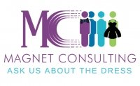 """Magnet """"Ask Us About the Dress"""" Logo"""